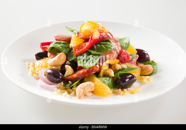 ORANGE & CHORIZO SALAD - Stock Image