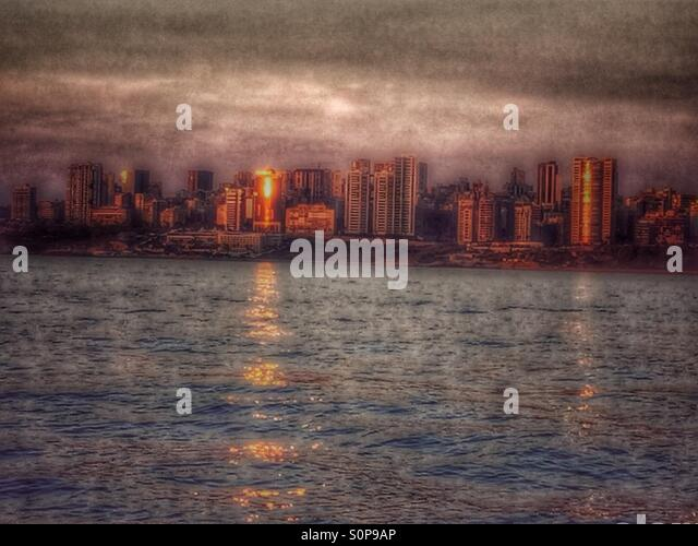 Rad Beirut,Beirut front,Beirut cost,buildings,hotels,sunset reflection, - Stock Image