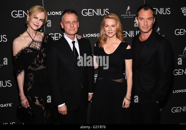 New York, NY, USA. 5th June, 2016. Nicole Kidman, Michael Grandage, Laura Linney, Jude Law at arrivals for GENIUS - Stock Image