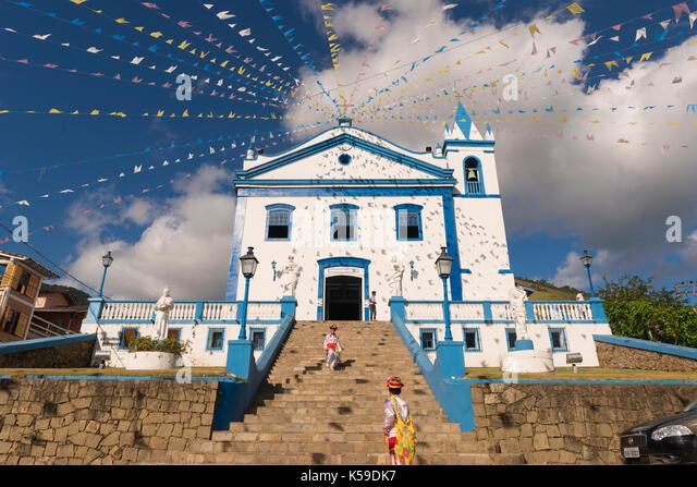 Catholic church in Ilhabela, SP, Brazil - Stock Image