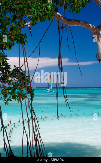 Turquoise blue sea with catamaran Punta Cana Caribbean Dominican Republic - Stock Image