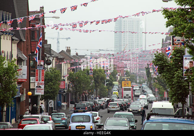 Belfast Unionist, Loyalist flags Shankill Rd,after royal wedding looking down towards city centre - Stock Image