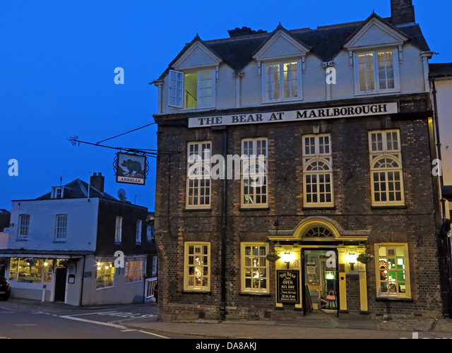 The Bear at Marlborough at dusk , Wiltshire , England , UK SN8 1LZ - Stock Image