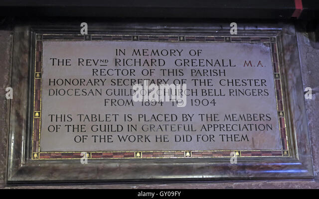 St Wilfrids Church Grappenhall- Rev Greenall,Rector 1894-1904, Warrington - Stock Image