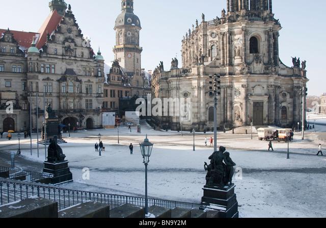 Schlossplattz by the Augustusbrucke, Dresden, Germany. - Stock Image