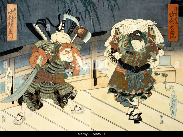 Two Actors in Performance, by Utagawa Kunimasu. Woodblock Print. Japan, 1837. - Stock Image