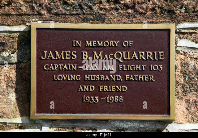 Lockerbie PanAm103 In Rememberance Memorial James MacQuarrie Captain Pan Am Flight 103, Scotland - Stock Image