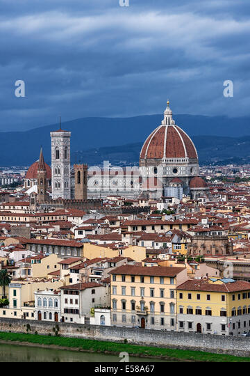 View of city and the Duomo architecture, Florence, Italy - Stock Image