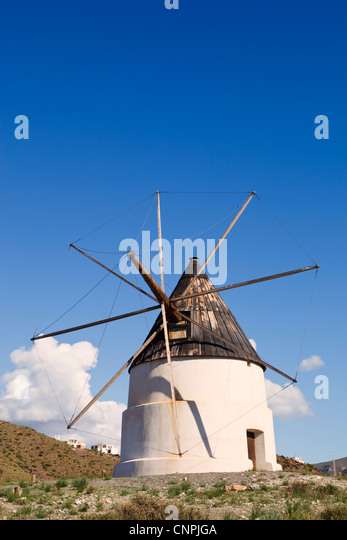 Windmill just outside San Jose, Cabo de Gata-Nijar Natural Park, Almeria Province, Spain. - Stock Image