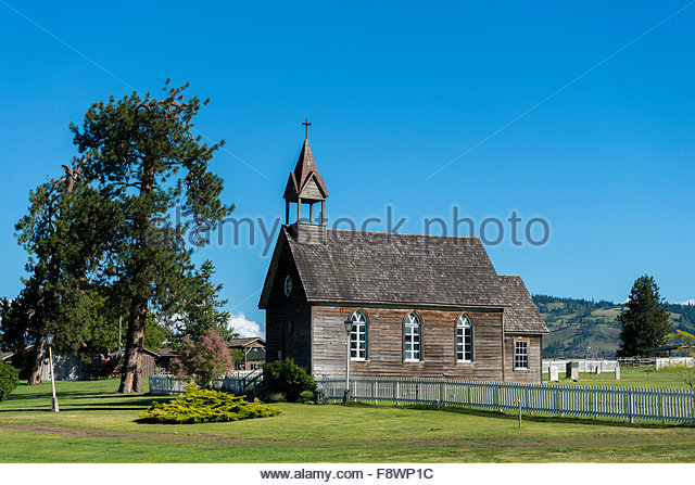 St Anne's Church, The historic,  O'Keefe Ranch, Vernon, Okanagan Valley, British Columbia, Canada - Stock Image