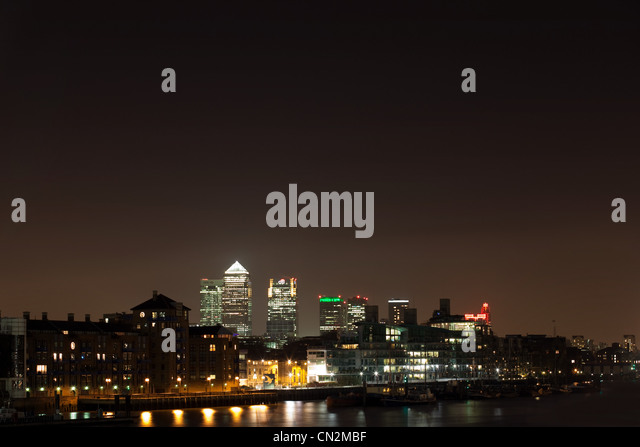View over Thames towards Canary Wharf, London, UK - Stock Image