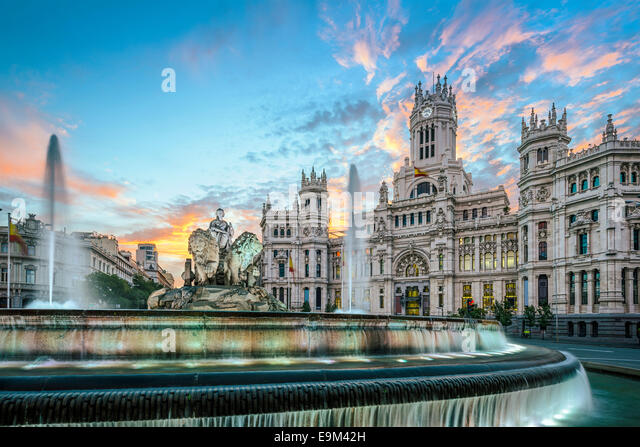 Madrid, Spain at Communication Palace. - Stock-Bilder