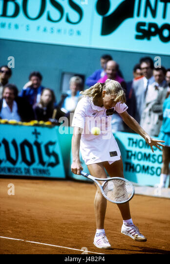 Steffi Graf (GER) competing at the 1990 French Open. - Stock-Bilder