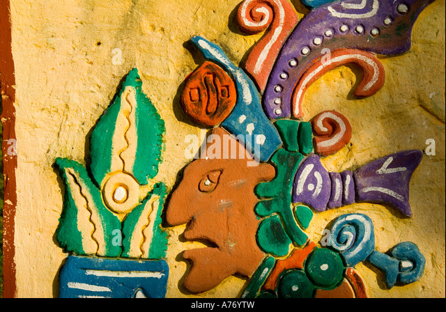 Cozumel Mexico El Cedral Archaeological Site modern Mayan drawing art - Stock Image