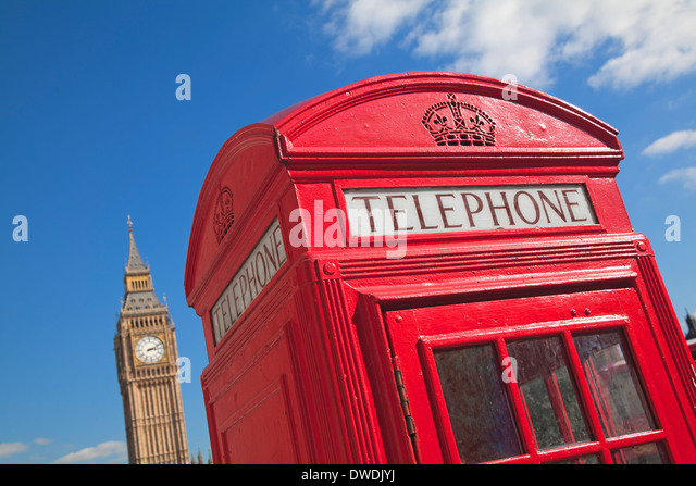 Red phone box in London UK - Stock Image