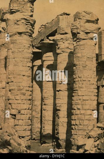 Columns of a temple, Thebes, Egypt, circa 1885 - Stock-Bilder