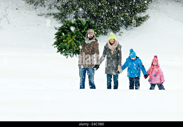 Family carries Christmas tree in snow-covered landscape, Bavarian Alps, Bavaria, Germany - Stock Image