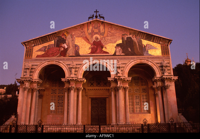 Israel Jerusalem Church of All Nations Christianity Garden at Gethsemane site - Stock Image