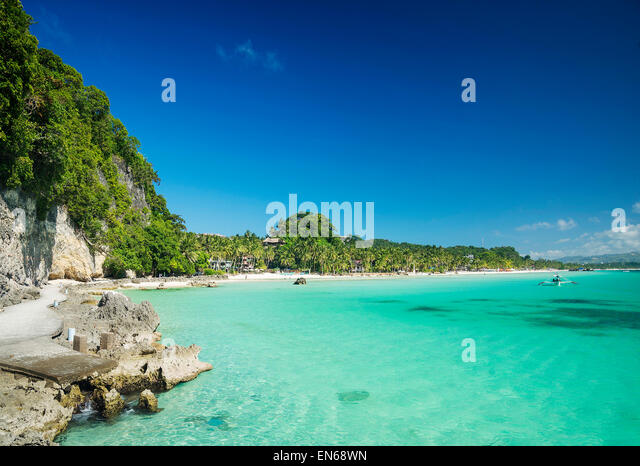boracay island philippines tropical diniwid beach view towards mainland - Stock Image