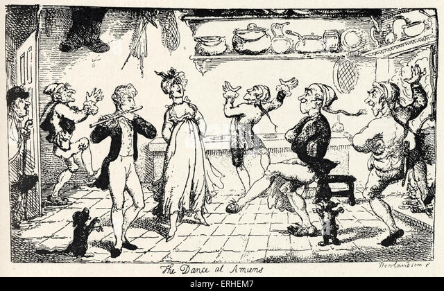 Laurence Sterne - 'Sentimental Journey' . English writer, 1713-1768. Illustration by Rowlandson (1756 -1827). - Stock Image