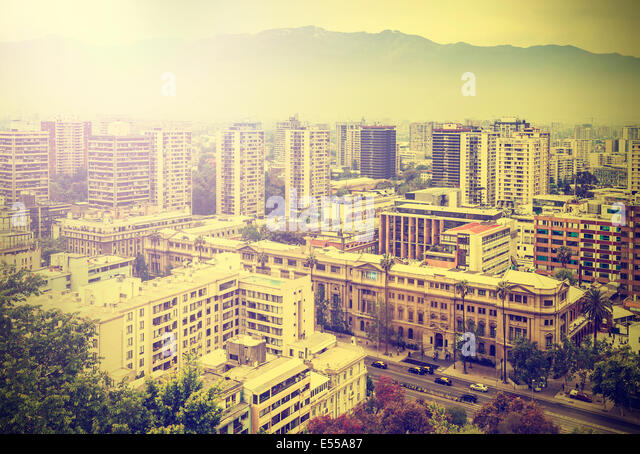 Vintage picture of Santiago de Chile downtown. - Stock Image
