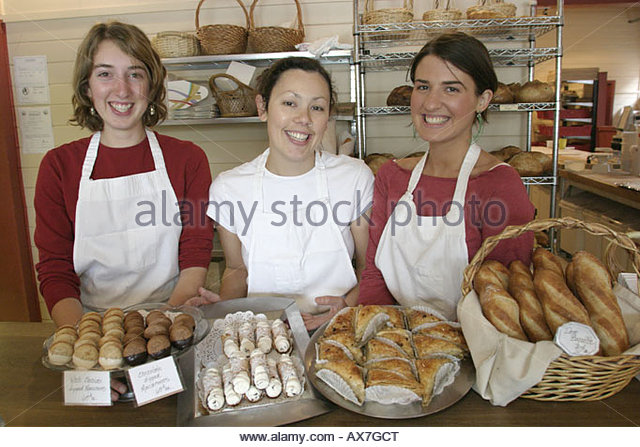West Virginia Lewisburg Greenbrier Valley Baking Company pastries smiling employees - Stock Image