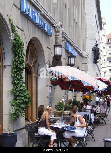 Switzerland Zuerrich Zurich Kaufleuten street cafe - Stock Image