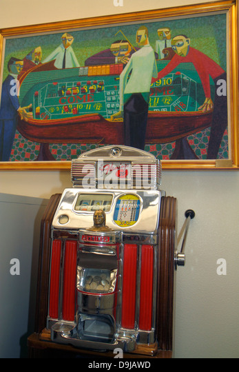 Nevada Las Vegas UNLV University of Nevada campus school Lied Library Gaming Collection painting slot machine historic - Stock Image