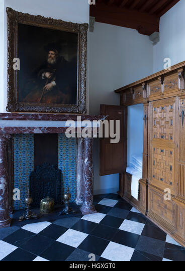 Bedroom, Rembrandt House Museum,  Rembrandthuis,  Amsterdam, Netherlands. - Stock Image