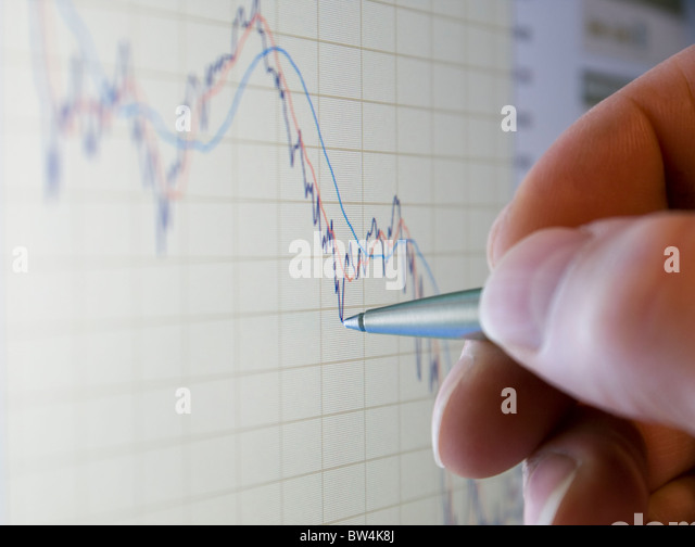 Analysing stock market share prices - Stock Image