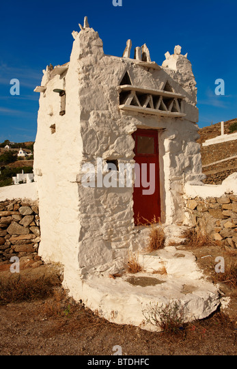 The dove-cote of the Folklore Museum. Mykonos Upper Chora. Cyclades Islands, Greece - Stock Image