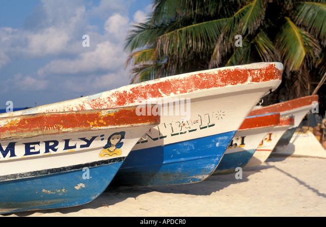 Mexico Isla Mujeres colorful fishing boats yucatan - Stock Image