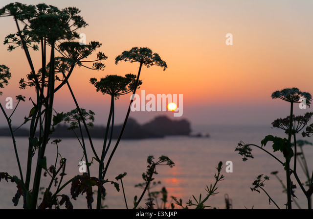 Sunset from Port Soif Bay Guernsey - Stock Image