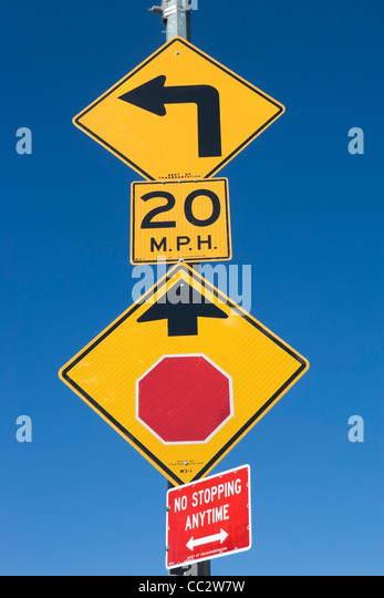 USA, New York State, New York City, Road Signs - Stock Image