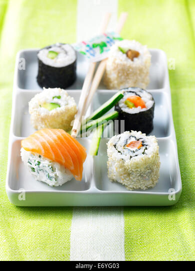 Assortment of makis and sushis - Stock Image