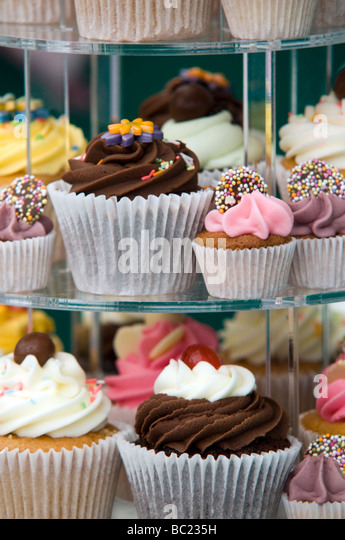 Cakes and Buns on display at a Food and Drinks Festival Derbyshire East Midlands England UK - Stock Image