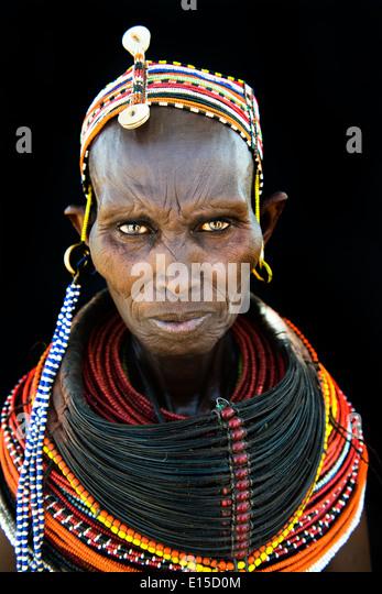 Beautiful Rendille women in their village in northern Kenya. - Stock-Bilder