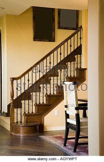 View of Staircase and Artwork - Stock Image