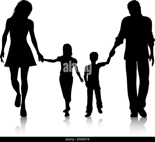 Silhouette of a family walking hand in hand - Stock-Bilder
