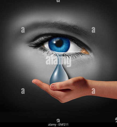 Depression support and therapy concept as a depressed human eye crying a tear held by a helping hand as a metaphor - Stock Image