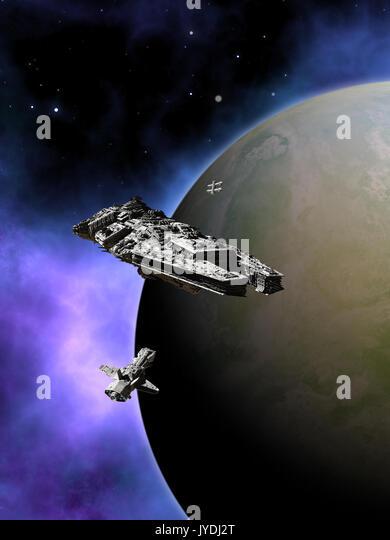 Fleet of Interplanetary Spaceships in Orbit - Stock Image