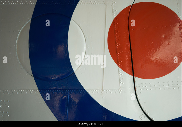 RAF Roundel on fuselage of aircraft - Stock Image