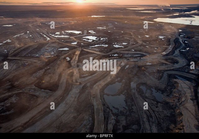 Aerial of Suncor Millenium Mine,  north of  Fort  McMurray, Canada. - Stock Image
