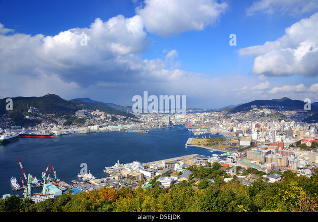 View of Nagasaki Bay, Japan. - Stock-Bilder