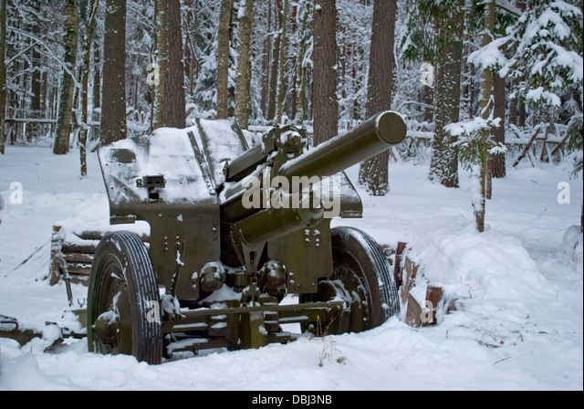 Artillery weapon of times of the Winter war. - Stock Image