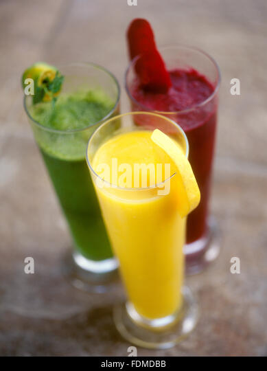 A trio of slush drinks at Mandala Spa, Boracay Island, Philippines. From top left: Calamansi and Mint, Red Beet - Stock Image
