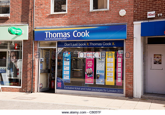 Thomas Cook Travel Agents store in Huntingdon, Cambridgeshire, England.  FOR EDITORIAL USE. - Stock-Bilder