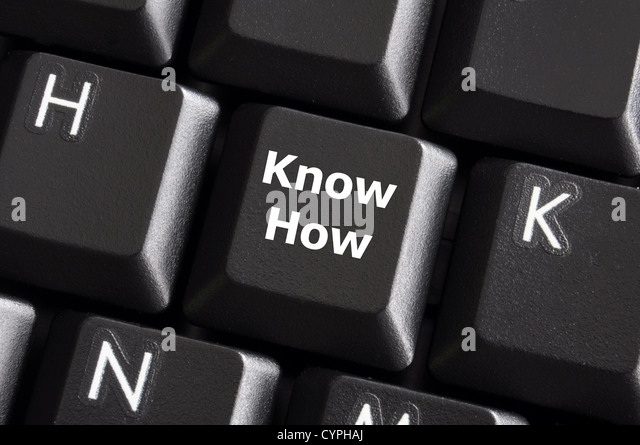 know how knowledge or education concept with button on computer keyboard - Stock Image