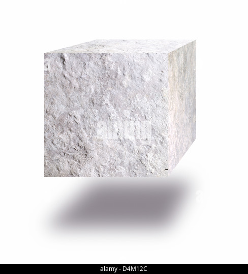 Stone cube floating in air against white background - Stock Image