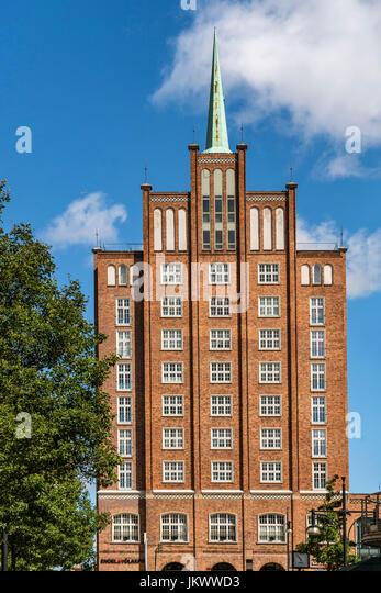 brick Gothic, Lange street, skyscraper,  Rostock , Mecklenburg-Vorpommern, - Stock Image